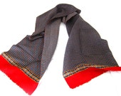 Bright Red and Navy Blue Vintage Scarf 58 x 12 inch Oblong with Short Fringe Square Dots