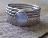 Sterling Silver Skinny & Fat Stack Ring Set - Moonglow Goddess