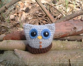 Crocheted Soft Gray Owl with Nest