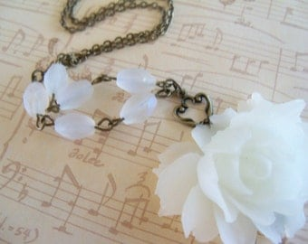 White Frosted Rose Necklace