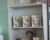 Three Custom Folded Book Art Sculptures - one large initial each