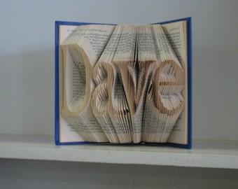 Folded Book Art - wedding attendant gift, bridesmaid, maid matron of honor, best man, groomsman gift - 4 letters  - housewarming gift