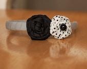 Black & Dots Rosette, Braided, Fringed Headband
