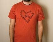 BICYCLE LOVE, 100 Percent Organic Cotton T-Shirt, Unisex sm, med, l, xl, xxl