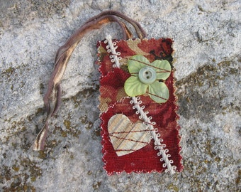 fun, flowered cloth bookmark with heart flower and button