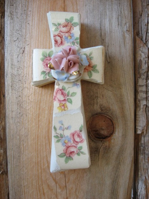 reserve listing for Lisa. handmade mini-cross Christian wall decor tiny roses and blue forget me nots handmade by me mosaic