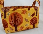 Reversible Fabric Bin - Autumn Trees and Leaves 10 x 5.5 x 6