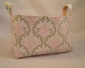 Reversible Fabric Bin Pink and Taupe Damask