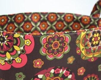Fabric Organizer Storage Container Basket Bin - Brown Kaleidoscope Bloom 10 x 5.5 x 6