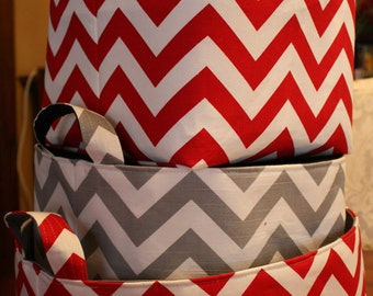 Storage bin, Laundry hamper, Toy Storage, 12 x 12 x 12  ZigZag Choose your color combinations