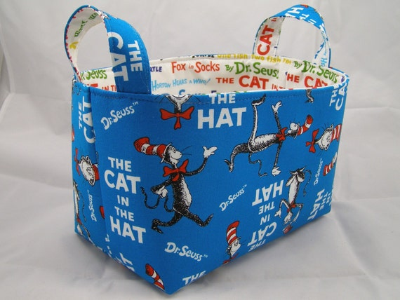 Reversible Turquoise Dr Seuss Cat in the Hat Fabric Bin 10 x 5.5 x 6