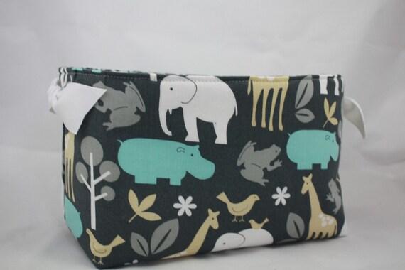 Zoology grey blue whte fabric bin. White ribbon added on each sideIP- 10 x 5.5 x 6