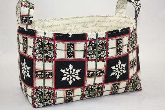 Reversible Yuletide Magic Fabric Bin 10 x 5.5 x 6