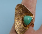 Gorgeous Modern 14k Gold Egyptian Ring with Turquoise Stone
