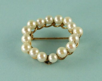 12k Gold Pearl Brooch Wired