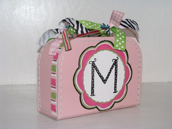Girls... Light Pink... Mini Suitcase... Personalized... Room Decor... Baby Gift... Birthday... Gift Box
