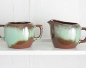 Vintage Frankoma Pottery Sugar and Creamer Set: Plainsman Woodland Moss Sugar Bowl and Cream Pitcher, Mint Green and Chocolate Brown Ombre