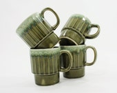 Vintage Stacking Mugs: Stackable Coffee Cups, Set of 4, Made in Japan, Green Drip Glaze, Japanese Ceramic