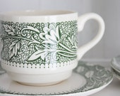Vintage Cups and Saucers: Green and Ivory Botanical Stacking Cups and Saucers, Made in the USA, Set of 3