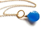 Bright Blue Gemstone and Gold Necklace