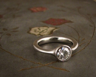 Low-Profile Solitaire Engagement Ring - Made to Order