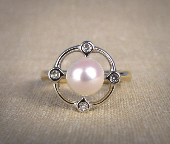 Art Deco Inspired Pearl Ring (14K) Made to Order