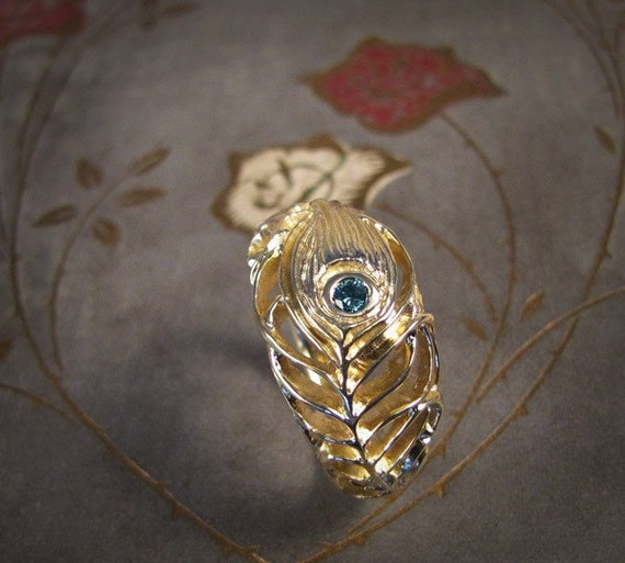 Peacock Ring with Blue Diamond (14K) Made to Order