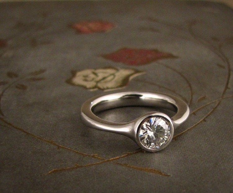 low profile solitaire engagement ring made to order