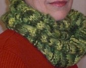 Hand Knit Cowl / Scarf - Versatility in Green