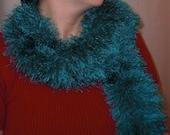 Handknit Scarf - Peacock Blue Explosion of Romance