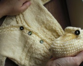 Hand Knit Cardigan and Booties Baby Girl Set - Pale Yellow (Vintage Yarn) - 3 to 6 Months