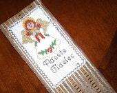 Handmade Cross-Stitched Bookmark - Adeste Fideles