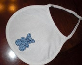 Handcrafted Cross-Stitched Bib - Blue Bear