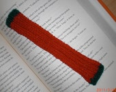 Handknit Bookmark Festive Christmas Colors Miniature Scarf