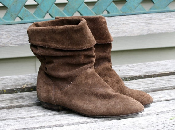 Vintage Brown Suede Slouch Ankle Boots