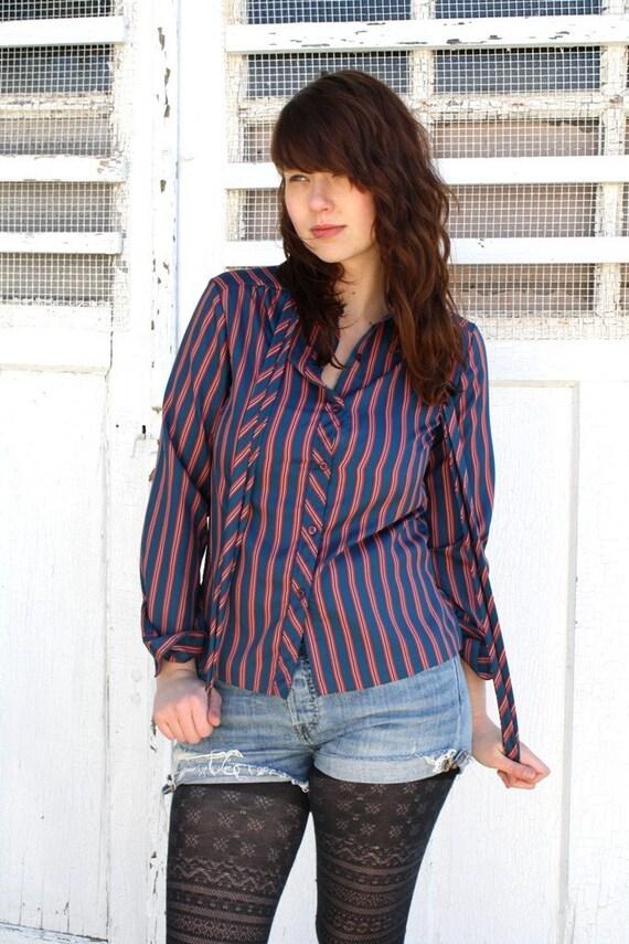 S U P E R  S A L E  Vintage Navy and Red Striped Blouse