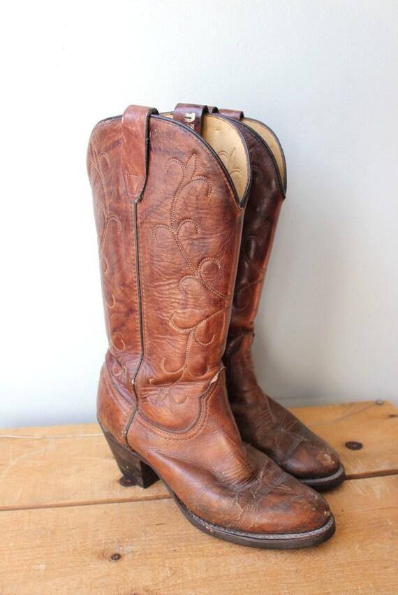 Vintage Auburn Brown Stitched Cowboy Boots
