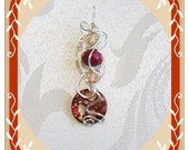 Free Form Wire Wrapped Pendant Shell and Crystals