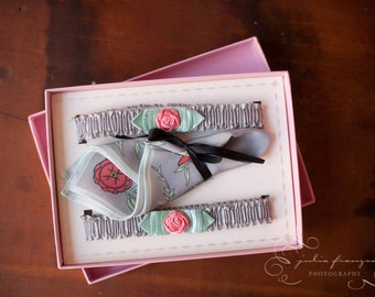 1920s Silk Garter Set with Coral Pink Roses