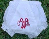 Personalized, monogrammed eyelet trim bloomers, diaper cover
