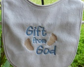 Embroidered terry baby bib, Terry baby bib, baby bib