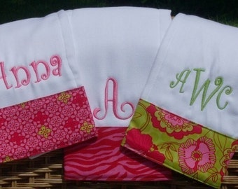 Pink zebra print personalized burp cloth set,baby shower gift