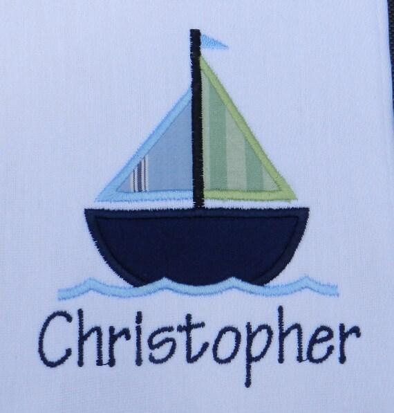Personalized sailboat applique burp cloth