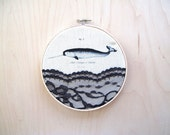 Embroidery hoop- art - Narwhal - vintage illustration- print- canvas lace- mixed media