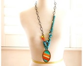 Tangelo and Tangerine with Turquoise Stripe Bronze Beaded Necklace