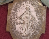 Beautiful silver and bronze Miraculous Virgin Mary religious saint medal pendant charm