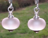Light Pink Lampwork Earrings Made From Depression Sea Beach Glass - Sterling Silver Findings