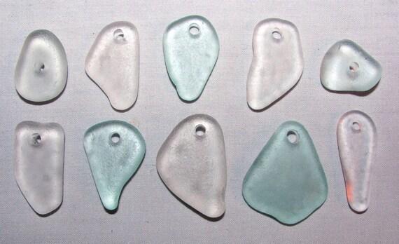 "10 Drilled Genuine Sea Beach Glass Gems ""Seafoam & Clear"" Tumbled San Juan Island, Wa - Jewelry, Beads, Arts, Crafts"