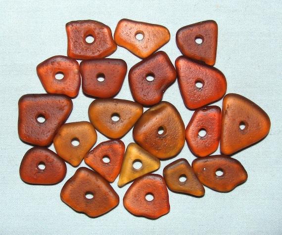 "20 ""Amber"" Drilled Genuine Sea Beach Glass Gems Tumbled San Juan Island, Wa - Jewelry, Beads, Art, Crafts"