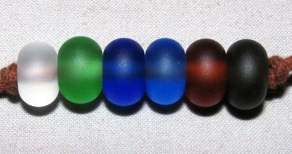 """6 """"Rainbow Minis"""" Lampwork Beads Made From Antique Sea Beach Glass - Jewelry, Crafts, Art"""